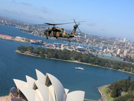 A Black Hawk helicopter over Sydney
