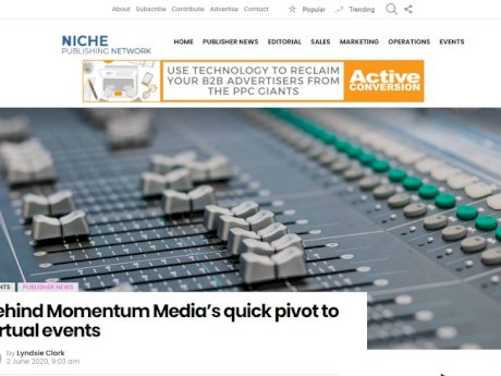 """Our message is to articulate to our partners and sponsors how they can capitalise on the increased activity on our websites, and also to articulate why niche media is so important, and why it is such a direct connection with these very segmented audiences."" Alex Whitlock, director, Momentum Media."
